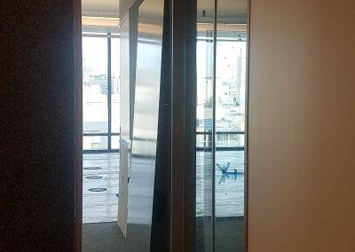 Full glass panels installed with frosted film